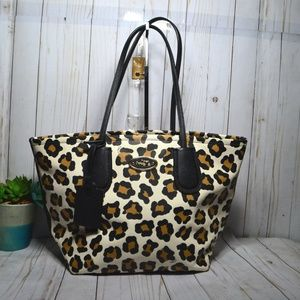Coach Tote Taxi 33969 Print Ocelot Leather Bag